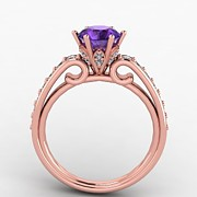 Platinum Jewelry - 14K Rose Gold Diamond Ring with Amethyst Center Stone by Eternity Collection