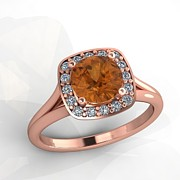 Platinum Jewelry - 14K Rose Gold Diamond Ring with Citrine Center Stone by Eternity Collection