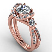 Platinum Jewelry - 14K Rose Gold Diamond Ring with Moissanite Center by Eternity Collection