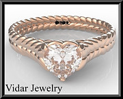 Romantic Rose Jewelry - 14k Rose Gold Heart Engagement Ring With Solitaire Moissanite by Roi Avidar