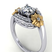 Platinum Jewelry - 14k White Gold and Yellow Gold Diamond Ring with Moissanite Center by Eternity Collection