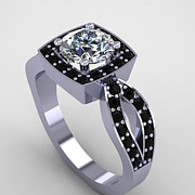 Platinum Jewelry - 14K White Gold Black Diamond Ring with Moissanite Center Stone by Eternity Collection