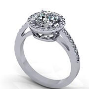 Platinum Jewelry - 14K White Gold Diamond Ring with Cubic Zirconia Center Stone by Eternity Collection