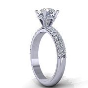 Platinum Jewelry - 14K White Gold Diamond Ring with Moissanite Center by Eternity Collection