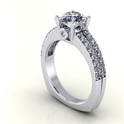 Platinum Jewelry - 14K White Gold Diamond Ring with White Sapphire Center Stone by Eternity Collection