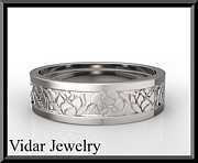 Featured Jewelry - 14k White Gold Lotus Flower Mens Wedding Ring by Roi Avidar
