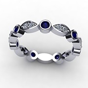 Platinum Jewelry - 14K White Gold Sapphire and Diamond Band by Eternity Collection