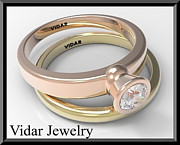 14k Jewelry - 14k Yellow And Rose Gold Diamond Wedding Ring And Engagement Ring Set by Roi Avidar