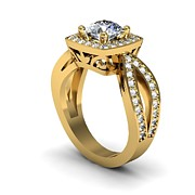 Platinum Jewelry - 14K Yellow Gold Diamond Ring with Moissanite Center STone by Eternity Collection