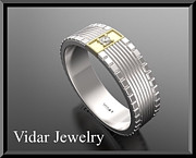 Featured Jewelry - 14kt White Gold Mens Wedding Ring with Yellow Channel Set Diamond by Roi Avidar