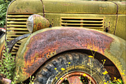 Olive Yellow Grass Posters - Gold KIng MIne Rusting Vehicle Poster by Robert Jensen