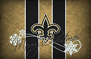Christmas Greeting Photo Framed Prints - New Orleans Saints Framed Print by Joe Hamilton
