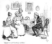 Charlotte Drawings Prints - Scene from Pride and Prejudice by Jane Austen Print by Hugh Thomson