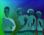 Blue Background Digital Art - 154 - Odd Blue Ladies   by Irmgard Schoendorf Welch