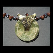 Brass Etching Jewelry - 156 Jade  by Brenda Berdnik