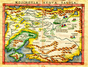 Cartography Paintings - 1574 Ruscelli Map of Russia Muscovy  and Ukraine Geographicus Moschovia porcacchi 1572 by MotionAge Art and Design - Ahmet Asar