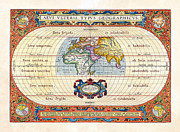Cartography Photos - 1590 Historical World Rare Map Aevi Veteris Typus Geographicus by Karon Melillo DeVega