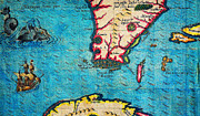 Cartography Paintings - 1591 De Bry and Le Moyne Map of Florida and Cuba Geographicus Florida debry 1591 part by MotionAge Art and Design - Ahmet Asar