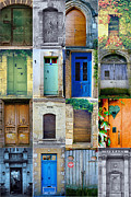 French Doors Metal Prints - 16 Doors in France Collage Metal Print by Georgia Fowler