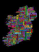 Featured Art - Ireland Eire City Text Map by Michael Tompsett