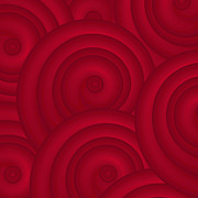 Spirals Posters - Red Abstract Poster by Frank Tschakert