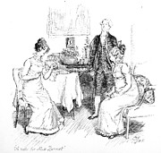 Letter Drawings Framed Prints - Scene from Pride and Prejudice by Jane Austen Framed Print by Hugh Thomson
