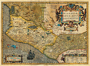 Multi Colored Paintings - 1606 Hondius and Mercator Map of Mexico Geographicus Hispaniae Nova Mexico mercator 1606 by MotionAge Art and Design - Ahmet Asar