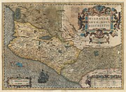 Conquistadores Prints - 1606 Hondius and Mercator Map of Mexico Print by Paul Fearn