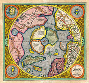 The Americas Paintings - 1606 Mercator Hondius Map of the Arctic First Map of the North Pole Geographicus NorthPole mercator  by MotionAge Art and Design - Ahmet Asar
