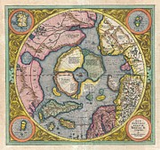 Map Of The Hand Posters - 1606 Mercator Hondius Map of the Arctic Poster by Paul Fearn