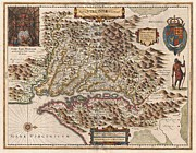 Do Something Prints - 1630 Hondius Map of Virginia and the Chesapeake Print by Paul Fearn