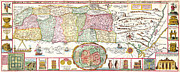 Vintage Map Paintings - 1632 Tirinus Map of the Holy Land Israel w numerous insetsGeographicus HolyLand tirinus 1632 by MotionAge Art and Design - Ahmet Asar
