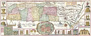 Southern Indiana Images Posters - 1632 Tirinus Map of the Holy Land Poster by Paul Fearn