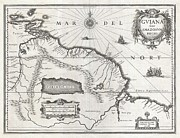 Just Right For; Posters - 1635 Blaeu Map Guiana Venezuela and El Dorado Poster by Paul Fearn