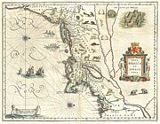 Without Sound Framed Prints - 1635 Blaeu Map of New England and New York Framed Print by Paul Fearn