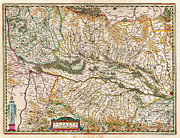 Multi Colored Paintings - 1644 Jansson Map of Alsace Basel and Strasbourg Geographicus AlsatiaSuperior jansson 1644 by MotionAge Art and Design - Ahmet Asar