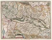 Jansson Prints - 1644 Jansson Map of Alsace  Print by Paul Fearn