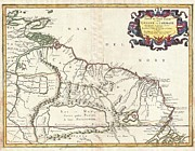 Heading Out West Framed Prints - 1656 Sanson Map of Guiana Venezuela and El Dorado Framed Print by Paul Fearn