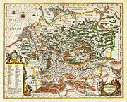 Old Map Paintings - 1657 Jansson Map of Germany Germania Geographicus Germaniae jansson 1657 by MotionAge Art and Design
