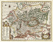 Jansson Prints - 1657 Jansson Map of Germany Print by Paul Fearn