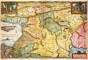 Multi Colored Paintings - 1657 Visscher Map of the Holy Land or the Earthly Paradise Geographicus Gelengentheyt visscher 1657 by MotionAge Art and Design