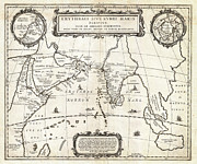 The Americas Paintings - 1658 Jansson Map of the Indian Ocean Erythrean Sea in Antiquity Geographicus ErythraeanSea jansson 1 by MotionAge Art and Design