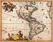 Planet Map Painting Prints - 1658 Visscher Map of North America and South America Geographicus America visscher 1658 Print by MotionAge Art and Design