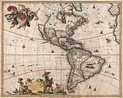 Open Mind Posters - 1658 Visscher Map of North America and South America Poster by Paul Fearn