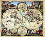 Signs Of The Zodiac Posters - 1670 Nova Orbis Tabula Rare World Map Poster by Karon Melillo DeVega