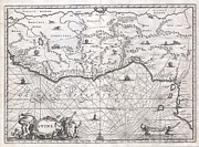 Right To Practice Photo Prints - 1670 Ogilby Map of West Africa  Gold Coast Slave Coast Ivory Coast Print by Paul Fearn