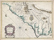 River.etc. Prints - 1676 John Speed Map of Carolina Print by Paul Fearn