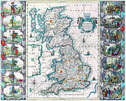 Vintage Map Photos - 1676 map of the British Isles by Vintage Maps