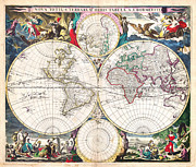Multi Colored Paintings - 1685 Bormeester Map of the World Geographicus TerrarumOrbis bormeester 1685 by MotionAge Art and Design