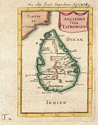 Spice Route Framed Prints - 1686 Mallet Map of Ceylon or Sri Lanka Framed Print by Paul Fearn